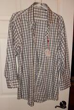 NEW English Laundry Dress Shirt Men's Long Sleeve Gray/White Plaid 17.5 32/33