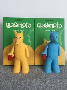 KIDROBOT Lord Quas SET  (Yellow AND Blue) Quasimoto Madlib toy LORD IN A BOX
