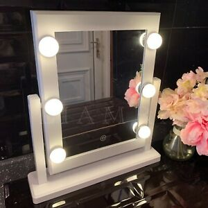 Led Light Up Makeup Mirror Touch Light 6 Led Holly Wood Style Dressing Mirror