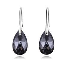 Women Silver gray Crystal Teardrop Hook Dangle Earrings Jewelry Anniversary Gift