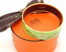 HERMES Bracelet Bangle Enamel Email GM Carriage Motif Green Gold authentic
