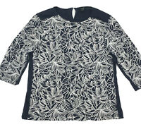 J. CREW 3/4 Sleeve Navy Blouse White Embroidered Design Cotton Top Size M