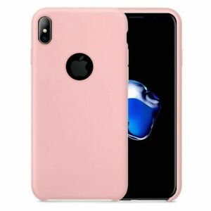 For iPhone X - Smooth Liquid Silicone Case Light Pink