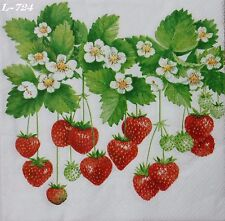STRAWBERRIES FRUITS  2 individual LUNCH SIZE paper napkins for decoupage 3-ply