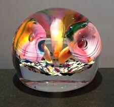 LARGE BOHEMIAN CZECH ART GLASS PAPERWEIGHT TRUMPET FLOWERS FRIT SPATTER PONTIL