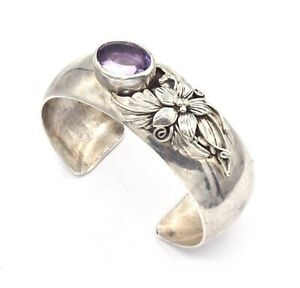Vintage Sterling Silver Floral Decorated Amethyst Stone Cuff Bracelet 38.7g