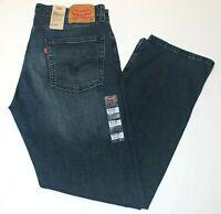 Men Authentic Levi's 513 Slim Straight Faded Dark Blue Stretch Jeans # 085130705