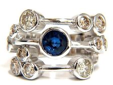 $9000 3.20ct NATURAL SAPPHIRE FANCY BROWN DIAMONDS RING 14KT STATION FLUSH DECO