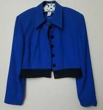 Vintage CHRISTIAN DIOR Blue/ Black Long Sleeve Cropped Blazer Sz 14