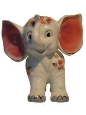 "White Porcelain Ornament – Animated Elephant ""Pink Ears"""