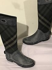 Burberry Gray  Clemence Check  Rain Boots Sz 37