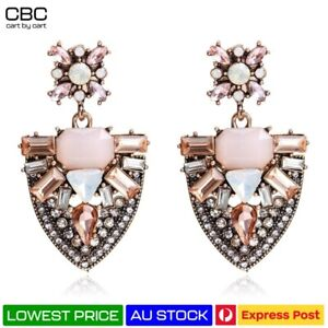 Peach Pink Large Earrings Chandelier Statement Gold Crystal Wreath Marquise NEW