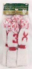 Vtg Knit Golf Club Covers w/ Pom Poms White and Pink 4 pc. set - X, 1, 3, 5 Nib!