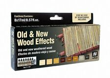 Old and New Weathered Wood: 8 Airbrush Paints for Model & Hobby (Vallejo 71187)
