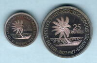 Cocos Keeling Islands. 1977 10 & 25 Rupees.. 2 Pce Proof Set - In Original Case