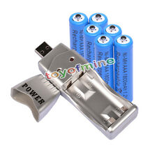 6 AAA NiMH rechargeable battery +USB Charger MP3 blue