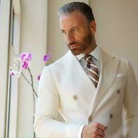 New Ivory Double Breasted Blazer Men's Suit Casual Jacket Custom Skinny Tuxedo