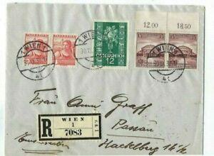 1938 Vienna Austria, German Annexation, Registered Mixed Country Frank to Passau