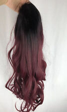 Wavy Long Ombre Black Wine Red Wig Synthetic Cosplay Costume Halloween 27""