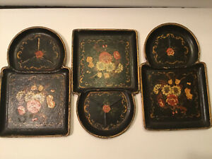 SET OF 3 BLACK FLORAL ISCO HAND PAINTED SNACK TRAYS MADE IN JAPAN ALCOHOL PROFF