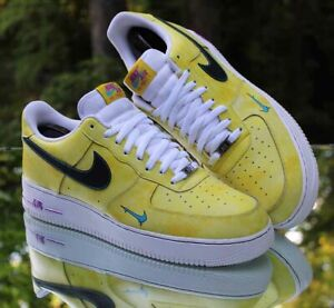 Nike Air Force 1 Low Peace Love and Basketball Men's Size 13 Yellow DC1416-700