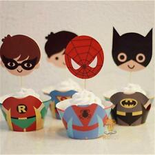 Superhero cupcake wrappers 12 cupcake wrappers and 12 toppers
