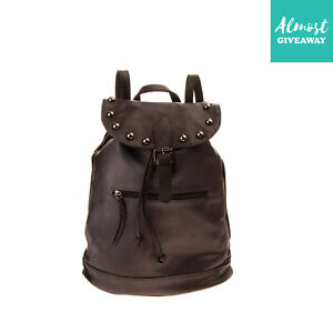 Leather Backpack Washed Panel Studded Drawstring & Magnetic Flap Made in Italy
