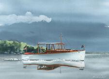A great yacht on Lake Geneva watercolor print