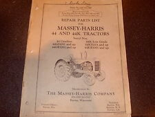 Repair Parts List For Massey Harris 44 And 44K Tractors