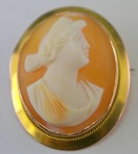 Antique Shell Cameo 9K Gold Carved Italian Female Lady Pin Brooch Pendant