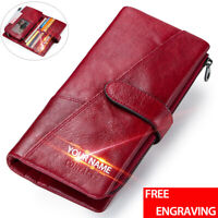 Vintage Genuine Leather Long Wallet Men/Women Bifold ID Card Holder Clutch Purse