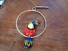 VTG Hanging Hand Painted Ceramic Toucan on a Metal Swing Hoop Mexican Folk Art