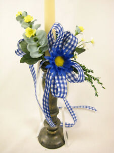 Artificial Flowers Blue Daisy Eucalyptus Ribbons Candle Ring Hanging Decoration
