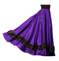 PURPLE Satin Full Circle 12 Yard 2 Ruffle Flamenco Skirt Gypsy Belly Dance Jupe