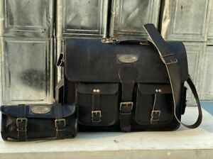 Bag Satchel Free Toiletry bag Men's Leather Vintage Laptop Messenger Briefcase