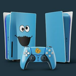 PS5 Vinyl Skin & 2x Controller Skins, Cookie Monster Themed.