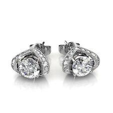 18k white gold gp genuine SWAROVSKI crystal Eve Stud Earrings