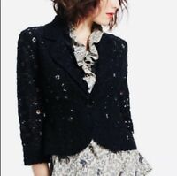 Anthropologie Tabitha 4 Small Navy Blue Floral Lace Blazer Jacket Single Button
