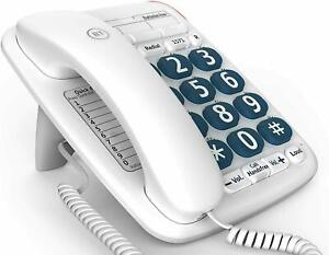 BT Big Button 200 Corded Telephone, White - 061130