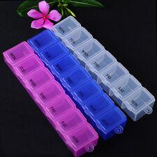 7 Day Medicine Box Storage Organizer Container Health Pill Cases Random