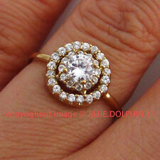 Genuine Solid 9ct Yellow Gold Engagement Wedding Cluster Ring Simulated Diamonds