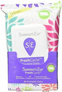 New Summer's Eve FreshCycle Cleansing Cloths   Reduces Period Odor   24 Count