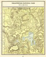1901 Antique YELLOWSTONE National Park Map Vintage Yellowstone Wyoming Map 7589