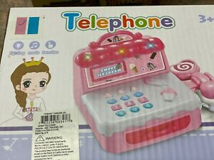 Pink Telephone Light Up Learning Pink Handset push button music new in box