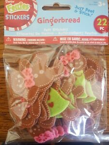 Felt Stickers GINGERBREAD Darice 22 Pieces peel and stick stickers