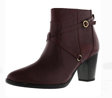 Isaac Mizrahi Live Ankle Mulberry Red Booties Laura Ankle Boots Strap Size 6 W
