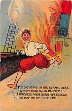 POSTCARD  COMIC     The   Boy stood on the burning  deck......