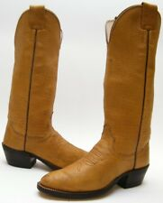 WOMENS OLATHE TALL TAN BROWN THICK LEATHER COWBOY WESTERN BOOTS SZ 5.5~1/2 C