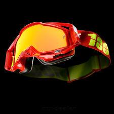 100% RACECRAFT ESPEJO Motocross MX Cruz Gafas Corbeta Mtb Rojo