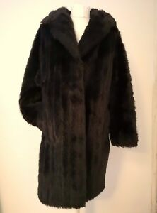 VINTAGE VERY DARK BROWN SIMULATED (FAUX) FUR COAT JACKET NEW 14 42 42 INCH CHEST